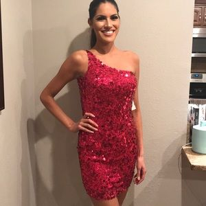 Scala Hot Pink Sequin Cocktail Dress Size 4